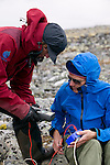 Students use a bore hole to record temperatures of the ground and test for permafrost levels in Norway's Jotunheimen National Park. The students are studying climate change.