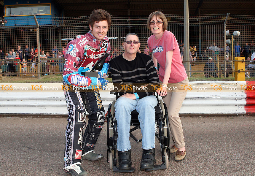 Lakeside Hammers rider of the month Richard Lawson - Lakeside Hammers vs Swindon Robins, Elite League Speedway at the Arena Essex Raceway, Pufleet - 12/07/13 - MANDATORY CREDIT: Rob Newell/TGSPHOTO - Self billing applies where appropriate - 0845 094 6026 - contact@tgsphoto.co.uk - NO UNPAID USE