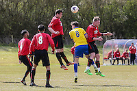 Match action from the Beds County Football League match between Ampthill Town U18 and Renhold United Reserves at Shefford Sports Club, Shefford, England on 30 April 2016. Photo by David HornPRiME Media Images.