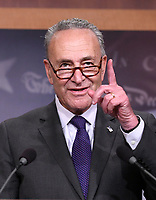 United States Senate Minority Leader Chuck Schumer (Democrat of New York) makes remarks as he and US Senator Ron Wyden (Democrat of Oregon), the ranking member of the US Senate Finance Committee meet reporters in the US Capitol in Washington, DC to denounce the new tax plan announced by US President Donald J. Trump and House and Senate Republicans as tax cuts for the wealthy on Wednesday, September 27, 2017. PhotoCredit: Ron Sachs/CNP/AdMedia