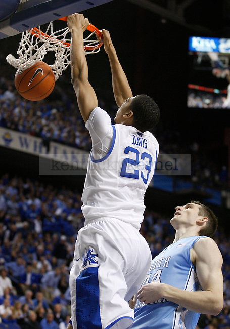 Anthony Davis dunks the ball in the second half of the game against the University of North Carolina at Rupp Arena in Lexington, Ky., on Saturday, Dec. 3, 2011. Kentucky won 73-72. Photo by Latara Appleby | Staff ..