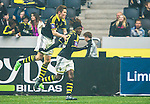 ***BETALBILD***  <br /> Solna 2015-05-31 Fotboll Allsvenskan AIK - Helsingborgs IF :  <br /> AIK:s Mohamed Bangura jublar med Haukur Hauksson efter sitt 3-1 m&aring;l under matchen mellan AIK och Helsingborgs IF <br /> (Foto: Kenta J&ouml;nsson) Nyckelord:  AIK Gnaget Friends Arena Allsvenskan Helsingborg HIF jubel gl&auml;dje lycka glad happy