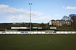 Bacup Borough 4 Holker Old Boys 1, 25/04/2016. Brain Boys West View Stadium, NorthWest Counties League Division One. The view across the pitch from the main stand at the Brain Boys West View Stadium before Bacup Borough play Holker Old Boys in a NorthWest Counties League division one fixture. Formed as Bacup in 1879, the club moved into their current home in 1889 and have been known as Bacup Borough since the 1920s, apart from a brief recent spell when they added the name Rossendale to their name. With both teams challenging for play-off places, Bacup Borough won this fixture by 4-1, watched by a crowd of 50. Photo by Colin McPherson.