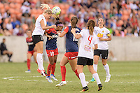 Houston, TX - Sunday Oct. 09, 2016: Abigail Dahlkemper, Crystal Dunn during the National Women's Soccer League (NWSL) Championship match between the Washington Spirit and the Western New York Flash at BBVA Compass Stadium. The Western New York Flash win 3-2 on penalty kicks after playing to a 2-2 tie.