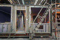 Unfinished modular housing in the Capsys factory in the Brooklyn Navy Yard in New York on Thursday, February 11, 2016. Because of rising rents and the need for a specialized space the factory will be closing down after after this job, housing for the Nehemiah Spring Creek development. Steiner Studios, another tenant at the Brooklyn Navy Yard will be taking over the space. (© Richard B. Levine)