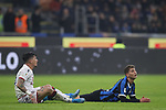 Sebastiano Esposito of Inter appeals for a free kick whilst laid on the pitch following a collision with Fabio Pisacane of Cagliari during the Coppa Italia match at Giuseppe Meazza, Milan. Picture date: 14th January 2020. Picture credit should read: Jonathan Moscrop/Sportimage