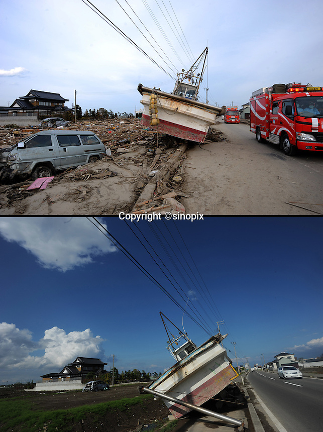 Images that show Natori area, south of Sendai Japan, that was devastated by the tsunami on 11th March 2011 photographed again 14th June 2011. 19th June will be 100 days since the earthquake...Photo by Richard Jones / Sinopix