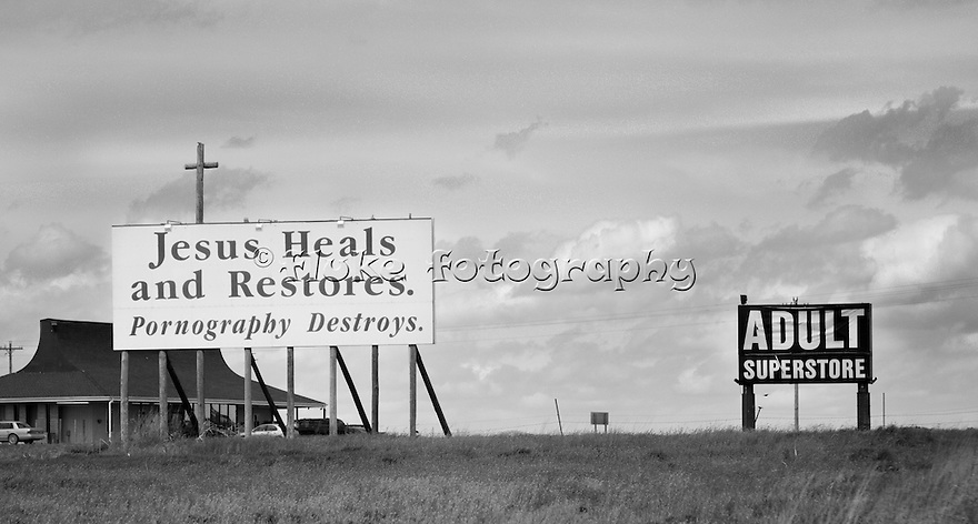 "Traveling East on Interstate 70, just west of Salina, KS.  On the other side of the highway is an adult store bordering on a farm.  The American way:  Freedom of speech, religion and the pursuit of happiness  20"" x 11"".  Printed on Parrot Digigraphic Ultra Lustre Photopaper.  Limited Edition of 25."