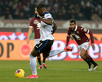 25th January 2020; Olympic Grande Torino Stadium, Turin, Piedmont, Italy; Serie A Football, Torino versus Atalanta; Duvan Zapata of Atalanta scores from a penalty kick for 0-3 to Atalanta in the 45th minute