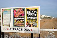 Attractions board by Brighton beach, England, United Kingdom
