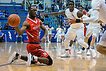 January 11, 2017:  Fresno State guard, Jahmel Taylor #5, recovers a loose ball during the NCAA basketball game between the Fresno State Bulldogs and the Air Force Academy Falcons, Clune Arena, U.S. Air Force Academy, Colorado Springs, Colorado.  Air Force defeats Fresno State 81-72.