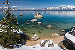 Lake Tahoe's snow covered whale beach in spring