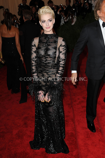 WWW.ACEPIXS.COM . . . . . .May 6, 2013...New York City....Anne Hathaway attending the PUNK: Chaos to Couture Costume Institute Benefit Gala at The Metropolitan Museum of Art in New York City on May 6, 2013  in New York City ....Please byline: Kristin Callahan...ACEPIXS.COM...Ace Pictures, Inc: ..tel: (212) 243 8787 or (646) 769 0430..e-mail: info@acepixs.com..web: http://www.acepixs.com .