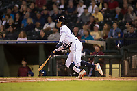 AFL West left fielder Buddy Reed (85), of the Peoria Javelinas and San Diego Padres organization, hits a hard line drive to left-center field in the bottom of the ninth inning during the Fall Stars game at Surprise Stadium on November 3, 2018 in Surprise, Arizona. The AFL West defeated the AFL East 7-6 . (Zachary Lucy/Four Seam Images)
