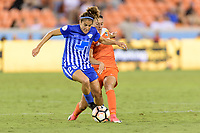 Houston, TX - Wednesday June 28, 2017: Angela Salem and Carli Lloyd battle for control of the ball during a regular season National Women's Soccer League (NWSL) match between the Houston Dash and the Boston Breakers at BBVA Compass Stadium.