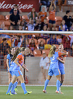 Janine Beckie celebrates with Rachel Daly (3) of the Houston Dash after her goal put Houston up 3-1 in the second half over the Chicago Red Stars on Saturday, April 16, 2016 at BBVA Compass Stadium in Houston Texas.