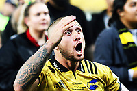 Hurricanes centurion TJ Perenara performs a haka after the Super Rugby match between the Hurricanes and Highlanders at Westpac Stadium in Wellington, New Zealand on Saturday, 24 March 2018. Photo: Mike Moran / lintottphoto.co.nz
