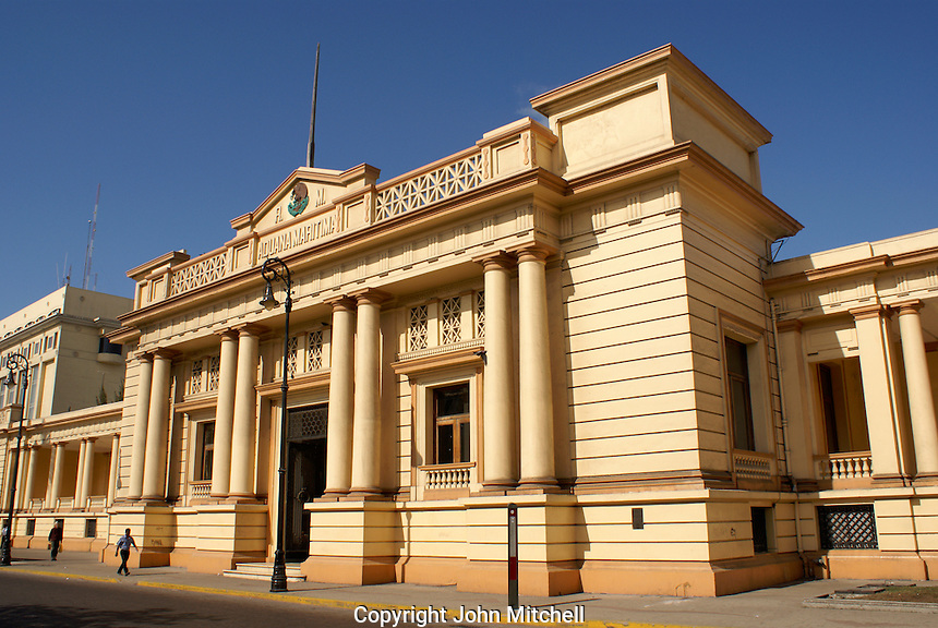The Maritime Customshouse or Aduana Maritima building in the port of Veracruz, Mexico. This British designed neoclassical structure dates back to the late 19th century.