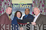 Pictured at the Killarney buyKerry launch in the Dromhall hotel Killarney, on Monday night were Mike Moriarty, Moriartys Furniture, Joanne O'Regan, JLT Tiles, Shaz Malik, Kerry's Eye and Pat O'Connor, Kerry Phone Center.