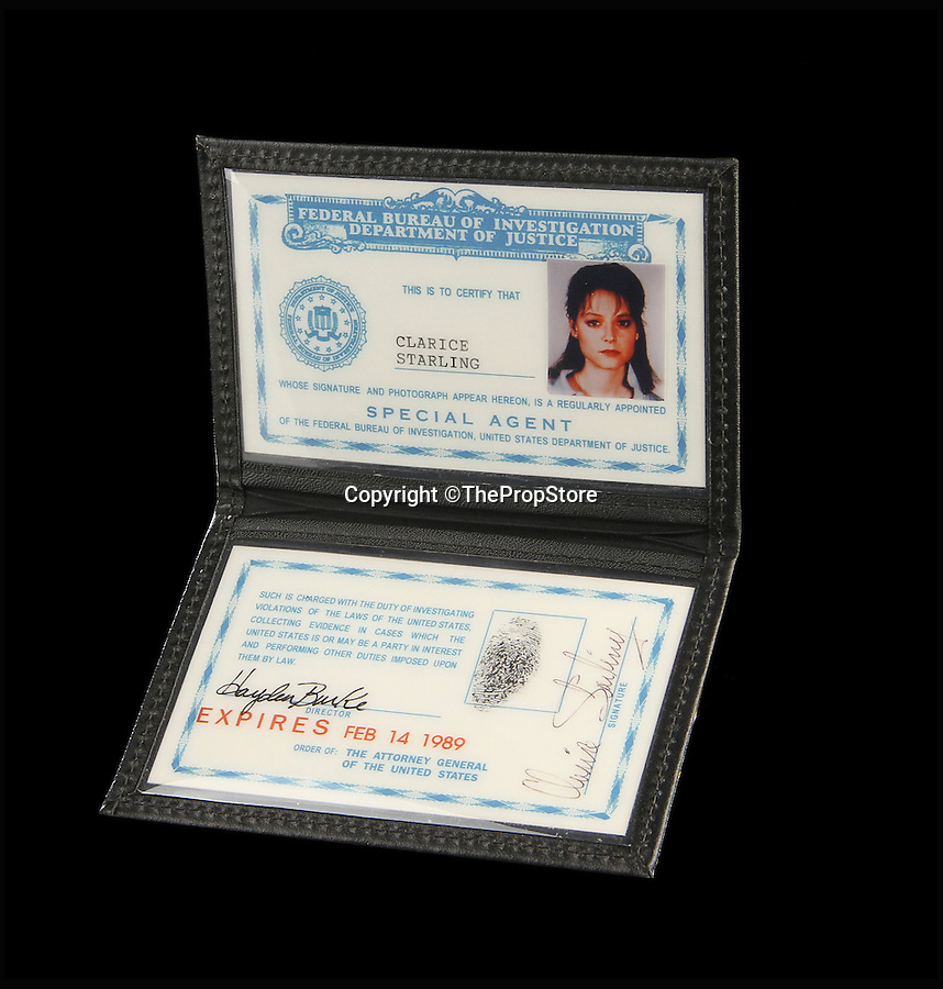 BNPS.co.uk (01202 558833)<br /> Pic: ThePropStore/BNPS<br /> <br /> Jodie Foster's Clarice Starling ID from Silence Of The Lambs.<br /> <br /> Stop! Police! - Hollywoods finest...and funniest id badges come up for auction.<br /> <br /> The world's largest ever collection of IDs belonging to a who's who of film and TV stars is set to be auctioned. <br /> <br /> Credentials used by Hollywood royalty including Jodie Foster, Bruce Willis, Leonardo DiCaprio, Jeremy Irons, Eddie Murphy and Kiefer Sutherland are all about to go under the hammer. <br /> <br /> The lots are being sold on behalf of an anonymous collector who amassed the collection over a period of 15 years. <br /> <br /> They will be auctioned by the Prop Store in London on Tuesday, September 27.