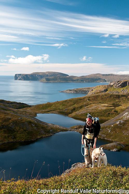 Dame og grønlandshund på Sørøya i Finnmark. ----- Woman and greenland dog on Sørøya in Finnmark.