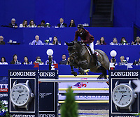 OMAHA, NEBRASKA - APR 2: Sheikh Ali Al Thani rides Carolina during the Longines FEI World Cup Jumping Final at the CenturyLink Center on April 2, 2017 in Omaha, Nebraska. (Photo by Taylor Pence/Eclipse Sportswire/Getty Images)