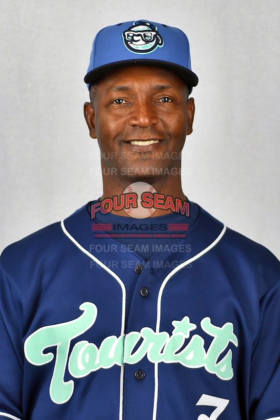 Asheville Tourists hitting coach Paco Martin (7) during media day at McCormick Field on April 2, 2019 in Asheville, North Carolina. (Tony Farlow/Four Seam Images)