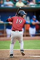 Reed Rohlman (19) of the Idaho Falls Chukars bats during a game against the Ogden Raptors at Lindquist Field on August 29, 2018 in Ogden, Utah. Idaho Falls defeated Ogden 15-6. (Stephen Smith/Four Seam Images)