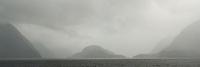 Rain in moody Doubtful Sound, Fiordland National Park, UNESCO World Heritage Area, Southland, New Zealand, NZ