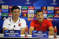 attends at press conference at eve of champions league soccer match against Napoli  at San Paolo Stadium<br /> <br /> attends at press conference at eve of champions league soccer match against Napoli  at San Paolo Stadium<br /> <br /> Julio Cesar and Rui Vitoria  attends at press conference at eve of champions league soccer match against Napoli  at San Paolo Stadium