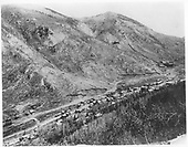 Elevated view of Monarch settlement in the narrow canyon along the south fork of the Arkansas River.  Madonna mine and tramway on far hill.<br /> D&amp;RG  Monarch, CO  Taken by Erdlen, C. W. - 1884