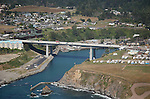 aerial view of Fort Bragg's new bridge over the Noyo River