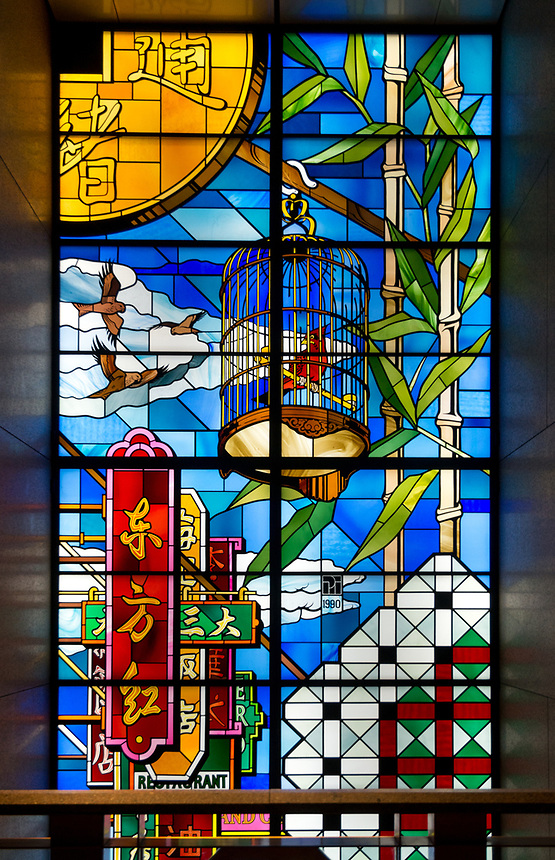 Remo Riva stained glass window inside the Standard Chartered Bank Building, Central, Hong Kong. Jayne Russell/Alamy Stock Photo