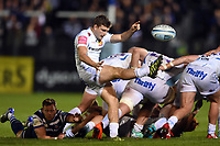 Jack Maunder of Exeter Chiefs box-kicks the ball. Gallagher Premiership match, between Bath Rugby and Exeter Chiefs on October 5, 2018 at the Recreation Ground in Bath, England. Photo by: Patrick Khachfe / Onside Images
