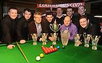 The Celbridge Snooker Club  team that won the Ladbrokes All Ireland Club Snooker Championship final at The Gleneagle Hotel, Killarney. From left are Nigel Power, TJ Dowling,  Patrick O'Donoghue, Gleneagle Hotel, Colm Gilcrest, Captain, Phil Martin, Manager, Colin McHugh, Ladbrokes, Martin McCrudden,  John Sutton and Joe Delaney. Picture: Eamonn Keogh (MacMonagle, Killarney)