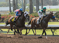 CYPRESS, CA. JULY 15:  #6 Klimt ridden by Rafael Bejarano and #2 Cistron ridden by Tyler Baze at the start of the Los Alamitos Derby (Grade lll) on July 15, 2017, at Los Alamitos Race Course in Cypress, CA.  (Photo by Casey Phillips/Eclipse Sportswire/Getty Images)