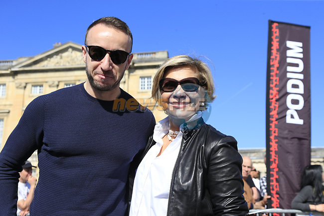 Irish designer Fergus at clothing brand Santini and Monica Santini guests of ASO at the Team Presentation for the upcoming 115th edition of the Paris-Roubaix 2017 race held in Compiegne, France. 8th April 2017.<br /> Picture: Eoin Clarke | Cyclefile<br /> <br /> <br /> All photos usage must carry mandatory copyright credit (&copy; Cyclefile | Eoin Clarke)