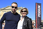 Irish designer Fergus at clothing brand Santini and Monica Santini guests of ASO at the Team Presentation for the upcoming 115th edition of the Paris-Roubaix 2017 race held in Compiegne, France. 8th April 2017.<br />