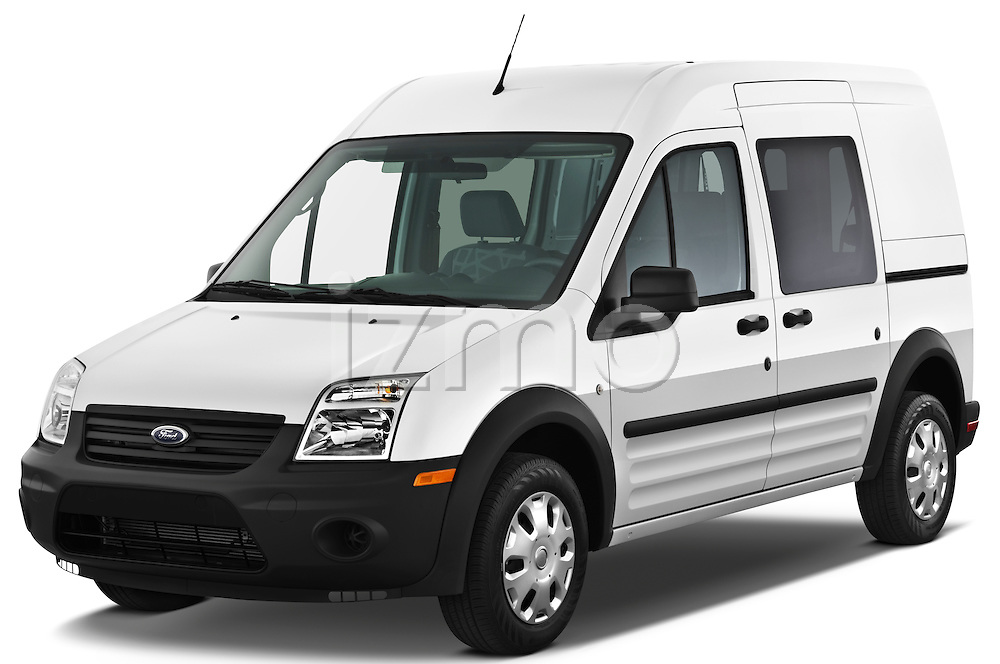 Front three quarter view of a 2010 Ford Transit XL Wagon.