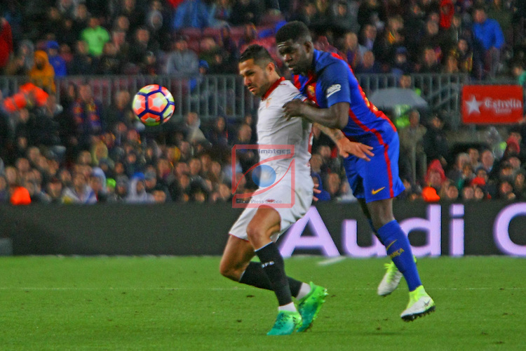 League Santander 2016/2017. Game: 30.<br /> FC Barcelona vs Sevilla FC: 3-0.<br /> Vitolo vs Samuel Umtiti.