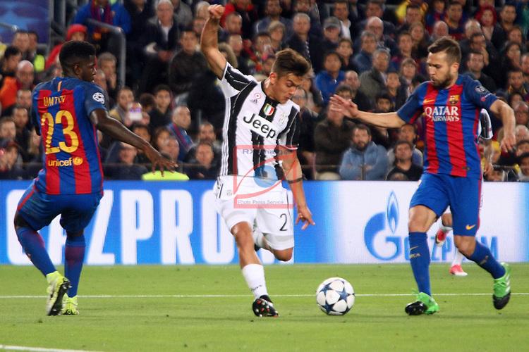 UEFA Champions League 2016/2017.<br /> Quarter-finals 2nd leg.<br /> FC Barcelona vs Juventus Football Club: 0-0.<br /> Samuel Umtiti, Paulo Dybala &amp; Jordi Alba.