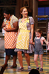 "NaTasha Yvette Williams, Katharine McPhee and Delaney Quinn during her curtain call bows as she returns to ""Waitress"" at the Brooks Atkinson Theatre on November 25, 2019 in New York City."
