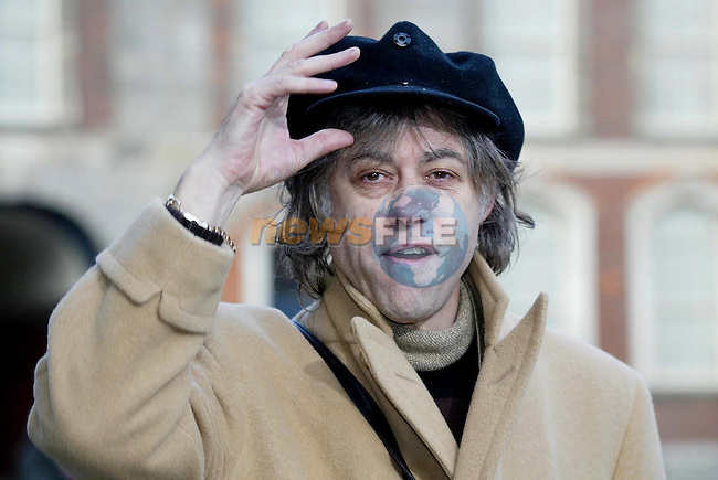 "Dublin Ireland. Sir Bob Geldof arriving at ""Breaking the Barriers"" Conference - A partnership to fight HIV/Aids in Europe and Central Asia. Taking place in Dublin Castle on 23 and 24th February 2004.Photo AFP/NEWSFILE/Maxwells.(Photo credit should read Maxwell/NEWSFILE/AFP)...This Picture has been sent you under the condtions enclosed by:.Newsfile Ltd..the Studio,.Millmount Abbey,.Drogheda,.Co Meath..Ireland..Tel: +353(0)41-9871240.Fax: +353(0)41-9871260.GSM: +353(0)86-2500958.email: pictures@newsfile.ie.www.newsfile.ie.FTP: 193.120.102.198..This picture is from Fran Caffrey@newsfile.ie"
