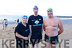 Elaine Burrows Dillane, Brendan O&rsquo;Connell and Kevin Williams, taking the Polor Plunge in Fenit on Sunday morning.<br />  Elaine Burrows Dillane, Brendan O&rsquo;Connell and Kevin Williams