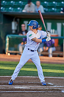 Andrew Shaps (17) of the Ogden Raptors bats during a game against the Grand Junction Rockies at Lindquist Field on September 7, 2018 in Ogden, Utah. The Rockies defeated the Raptors 8-5. (Stephen Smith/Four Seam Images)