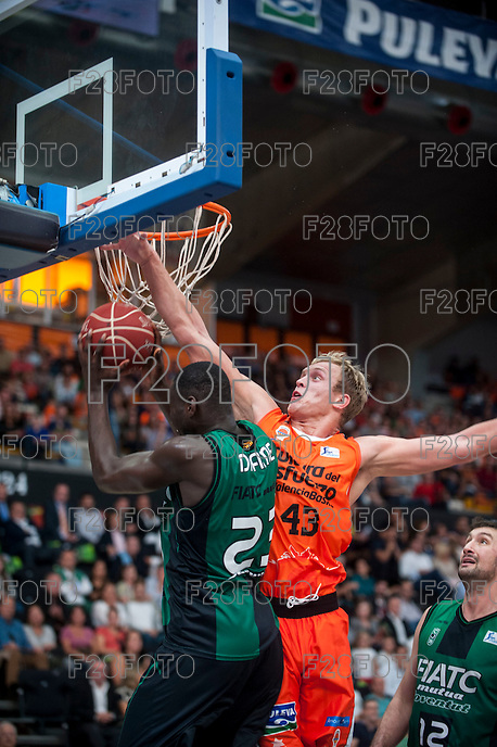 VALENCIA, SPAIN - OCTOBER 18: Drame, Sikma during ENDESA LEAGUE match between Valencia Basket Club and FIATC Joventut at Fonteta Stadium on October 18, 2015 in Valencia, Spain
