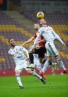 15th March 2020, Istanbul, Turkey;   Victor Ruiz and Domagoj Vida  of Besiktas challenge for the header with Florin Andone of Galatasaray during the Turkish Super league football match between Galatasaray and Besiktas at Turk Telkom Stadium in Istanbul , Turkey on March 15 , 2020.