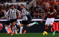 Calcio, quarti di finale di Coppa Italia: Roma vs Juventus. Roma, stadio Olimpico, 21 gennaio 2014.<br /> AS Roma midfielder Radja Nainggolan, of Belgium, is challenged by Juventus midfielder Andrea Pirlo, left, during the Italian Cup round of eight final football match between AS Roma and Juventus, at Rome's Olympic stadium, 21 January 2014.<br /> UPDATE IMAGES PRESS/Isabella Bonotto