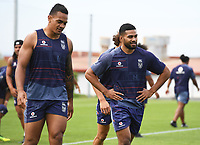 Ken Maumalo and Lewis Soosomea.<br /> Vodafone Warriors training session. NRL Rugby League. Mt Smart Stadium, Auckland, New Zealand. Thursday 8 February 2018 &copy; Copyright Photo: Andrew Cornaga / www.photosport.nz