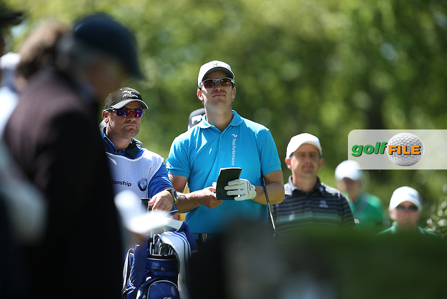 Magnus A CARLSSON (SWE) on a high after a birdie on the 17th during Round One of the 2015 BMW PGA Championship over the West Course at Wentworth, Virginia Water, London. 21/05/2015Picture David Lloyd, www.golffile.ie.